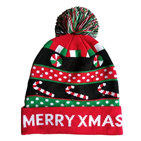 Amazon.com   Lumumi Novelties LED Light-up Knitted Ugly Sweater Holiday  Xmas Christmas Beanie - 3 Flashing Modes (A)   Sports   Outdoors ae0882d5f308