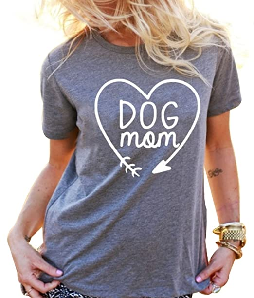 c47029af8c Amazon.com: JINTING Funny Cute Dog Mom Tee Shirts for Women with Saying  Short Sleeve Letter Print Graphic Mom Tee Shirt: Clothing