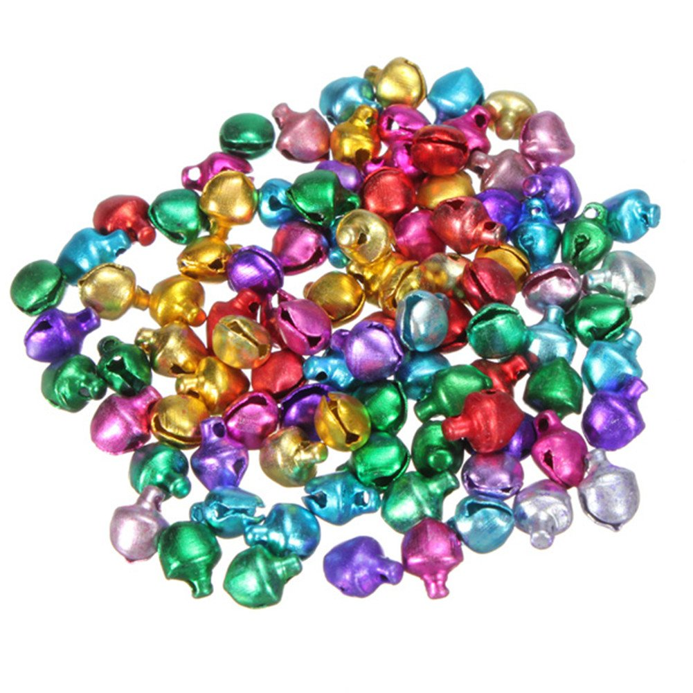 Distinct® 100pcs 8mm Mixed Color Xmas Charms Jewelry Pendants Beads Small Jingle Bells Christmas Decoration Gift