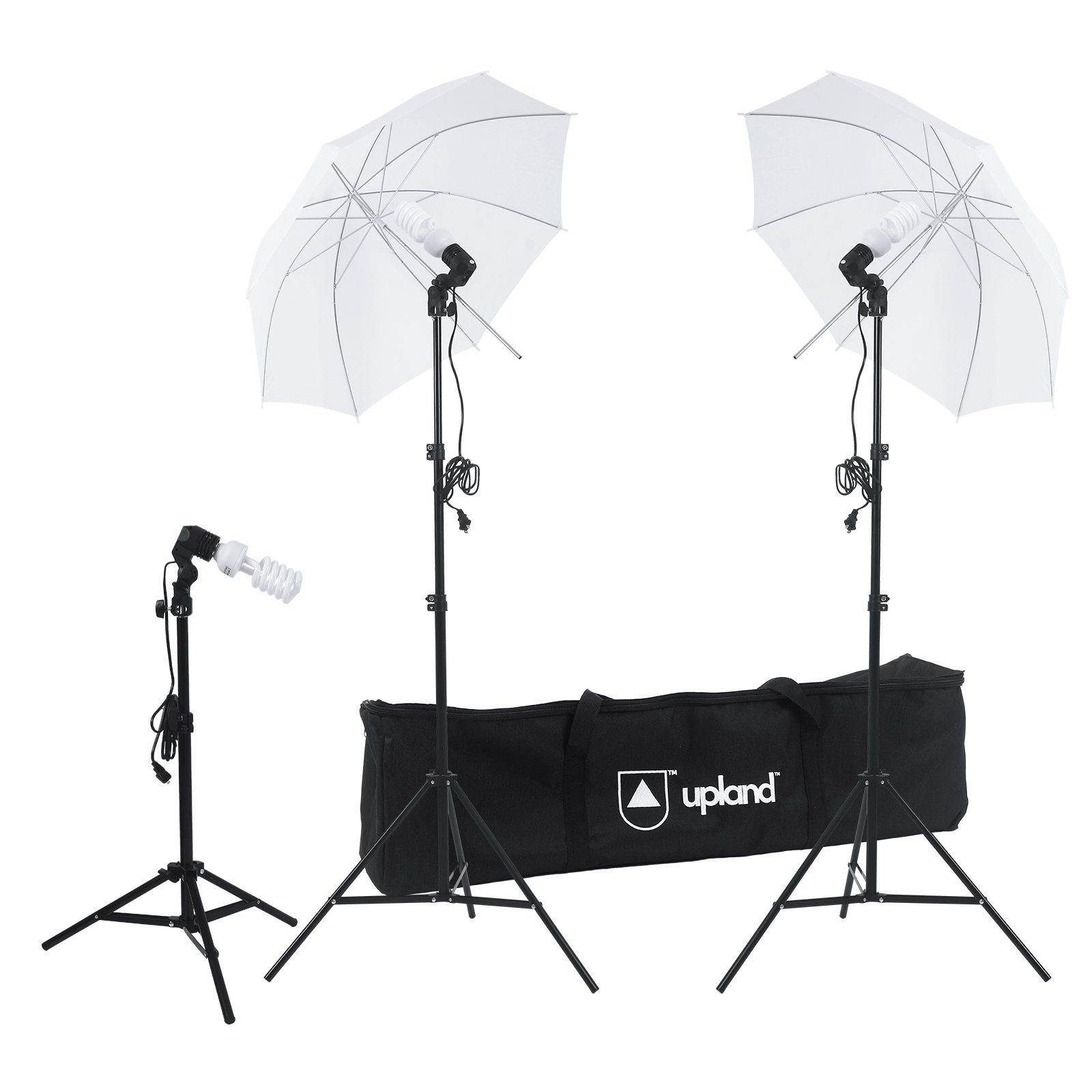 Upland Photography Umbrella Lighting Kit (Set of 3), White Translucent Continuous Bright Umbrella for Photo, Photography and Video Studio