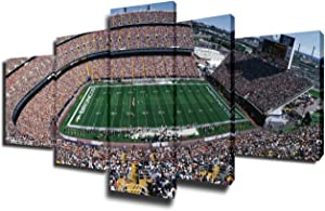 Mile High Stadium Pictures The Denver Broncos Paintings American Football Wall Art 5 Piece Canvas Modern Artwork Home Decor for Living Room Framed Gallery-wrapped Stretched Ready to Hang(50''Wx24''H)