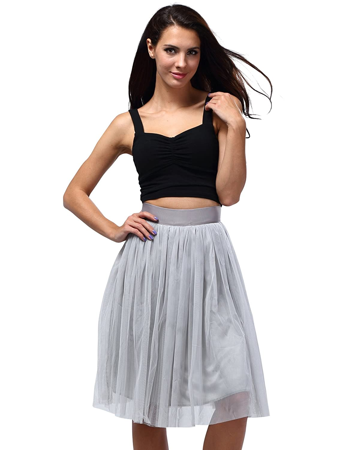 Bepei Women Mech Layer Bow Detailing Elegant Skirt Gray
