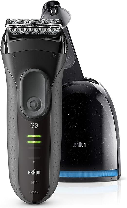 Braun Series 3 ProSkin 3050 cc Afeitadora eléctrica para hombre, máquina de afeitar barba inalámbrica y recargable, recortadora de precisión extraíble, negro/gris + base limpieza y carga Clean&Charge: Amazon.es: Salud y cuidado