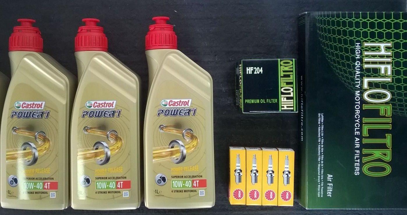 Kit de revisión para Yamaha FZ6 600, con filtro de aceite, filtro de aire, bujías y aceite Castrol, 10W-40 4T: Amazon.es: Coche y moto