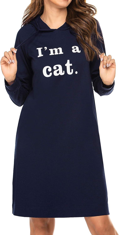 Ekouaer Nightshirt Cute Cat Printed Solid Color Long Sleeve Sleep Sweatshirt Hooded (Navy Blue XXL)