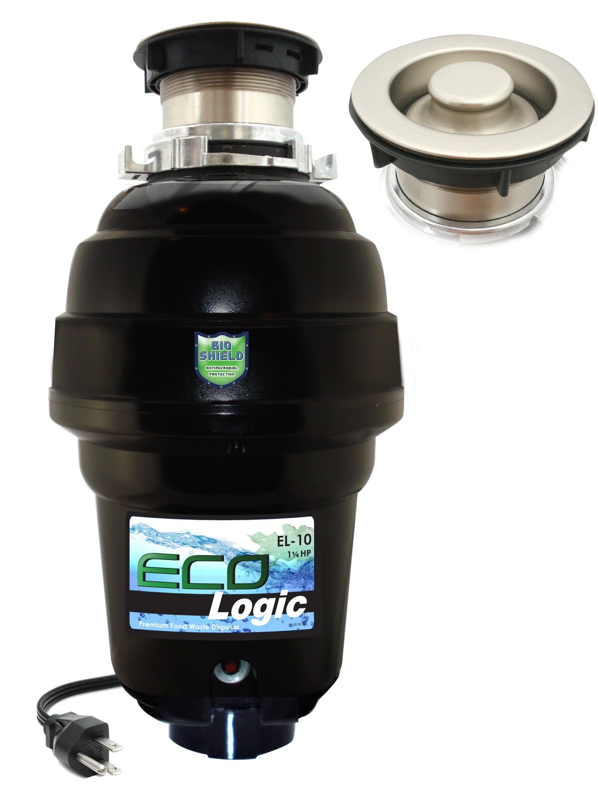 Eco Logic EL-10-DS-BN 10 Designer Series Food Waste Disposer with Brushed Nickel Sink Flange, 1-1/4 HP by Eco Logic