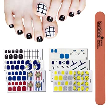 Amazon Com Wokoto 6pcs Toe Nail Polish Wraps With Adhesive And 1pc