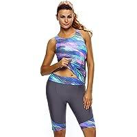 EVALESS Women's Two Pieces Tankini Set Plus Size Swimwear Wetsuit Sport Swimsuit (S-5XL)