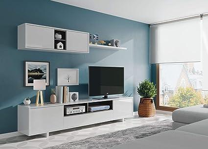 Eglemtek Parete Attrezzata Swiss Mobile Soggiorno Tv Con Mensola Salotto Legno Base Televisione Sala Da Pranzo Design Moderno 200 X 41 X 46 Cm Colore Bianco Amazon It Casa E Cucina
