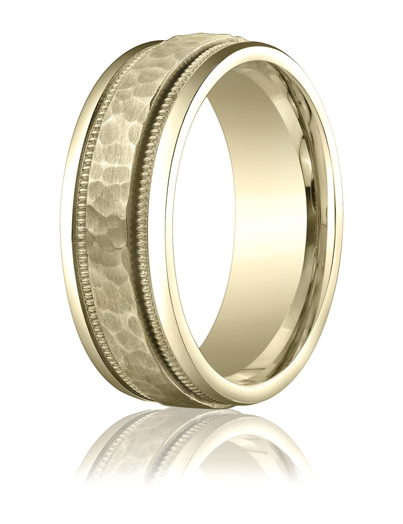 Mens 14K Yellow Gold, 8mm Comfort-Fit Hammered Milgrain Carved Band (sz 10)