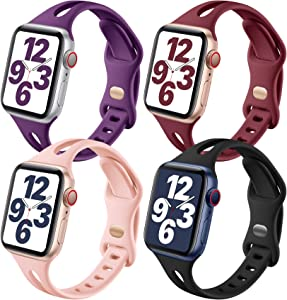 Getino Compatible with Apple Watch Band 40mm 38mm iWatch SE & Series 6 5 4 3 2 1 for Women Men, Stylish Durable Soft Silicone Slim Sport Watch Bands, 4 Pack, Black, Purple, Pink Sand, Wine Red