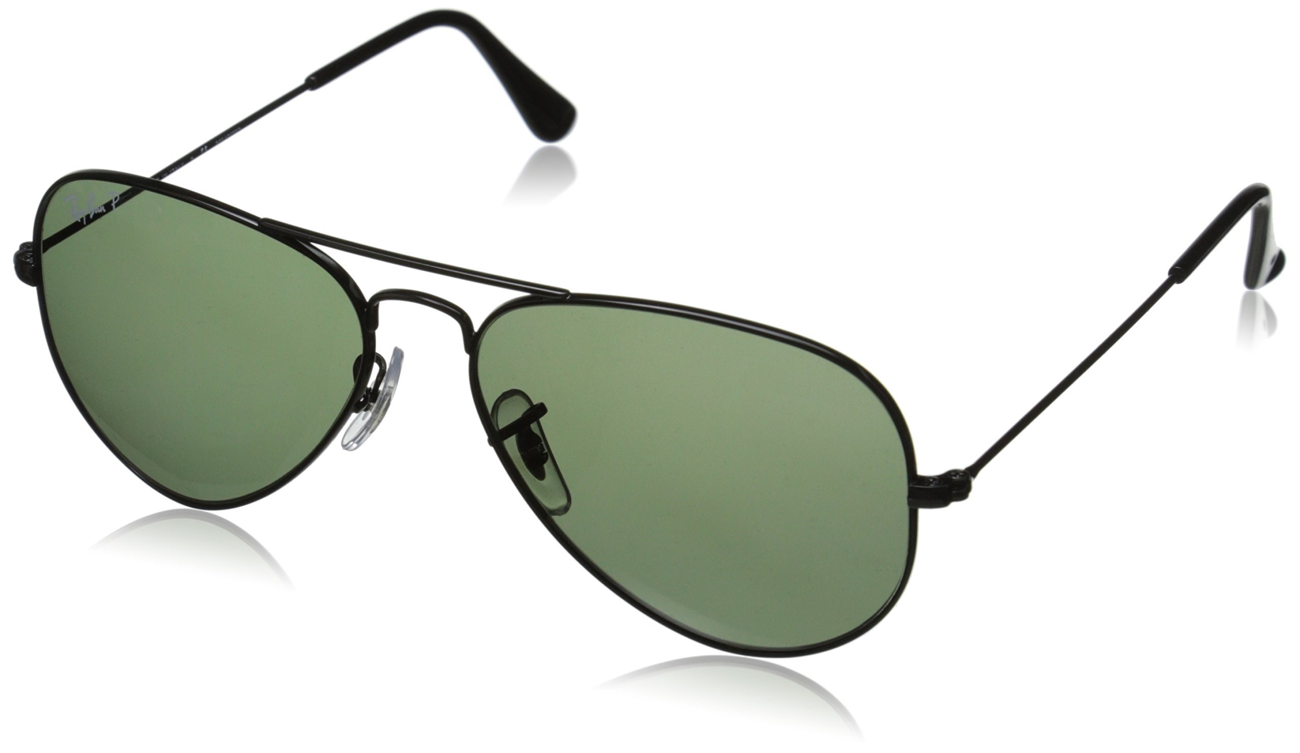 Ray-Ban AVIATOR LARGE METAL - BLACK Frame CRYSTAL GREEN POLARIZED Lenses 55mm Polarized