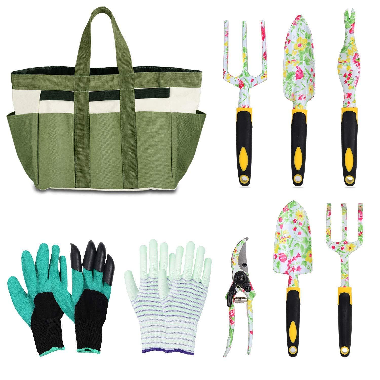 LOYLOV Garden Tool Set Floral Print 9 Piece Aluminum Gardening Tools with 2 Gardening Gloves, Garden Tote, Hand Pruner, Garden Trowel, Hand Rake, Weeder, Fork, Transplanter, Gardening Gifts for Women by LOYLOV