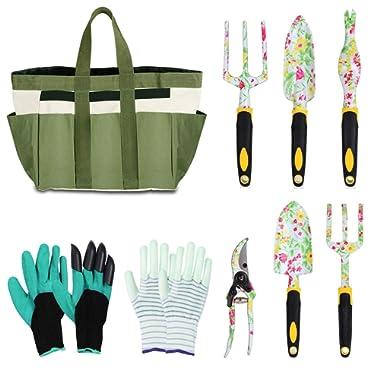 LOYLOV Garden Tool Set Floral Print 9 Piece Aluminum Gardening Tools with 2 Gardening Gloves, Garden Tote, Hand Pruner, Garden Trowel, Hand Rake, Weeder, Fork, Transplanter, Gardening Gifts for Women