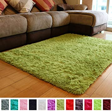 Amazon Com Pagisofe Soft Shag Green Furry Area Rugs For Living Room Bedroom Kids Room Rug Fluffy Comfy Floor Carpet For Nursery Modern Plush Home Center Decorative Rug Cheap Fur Green Rug Mat