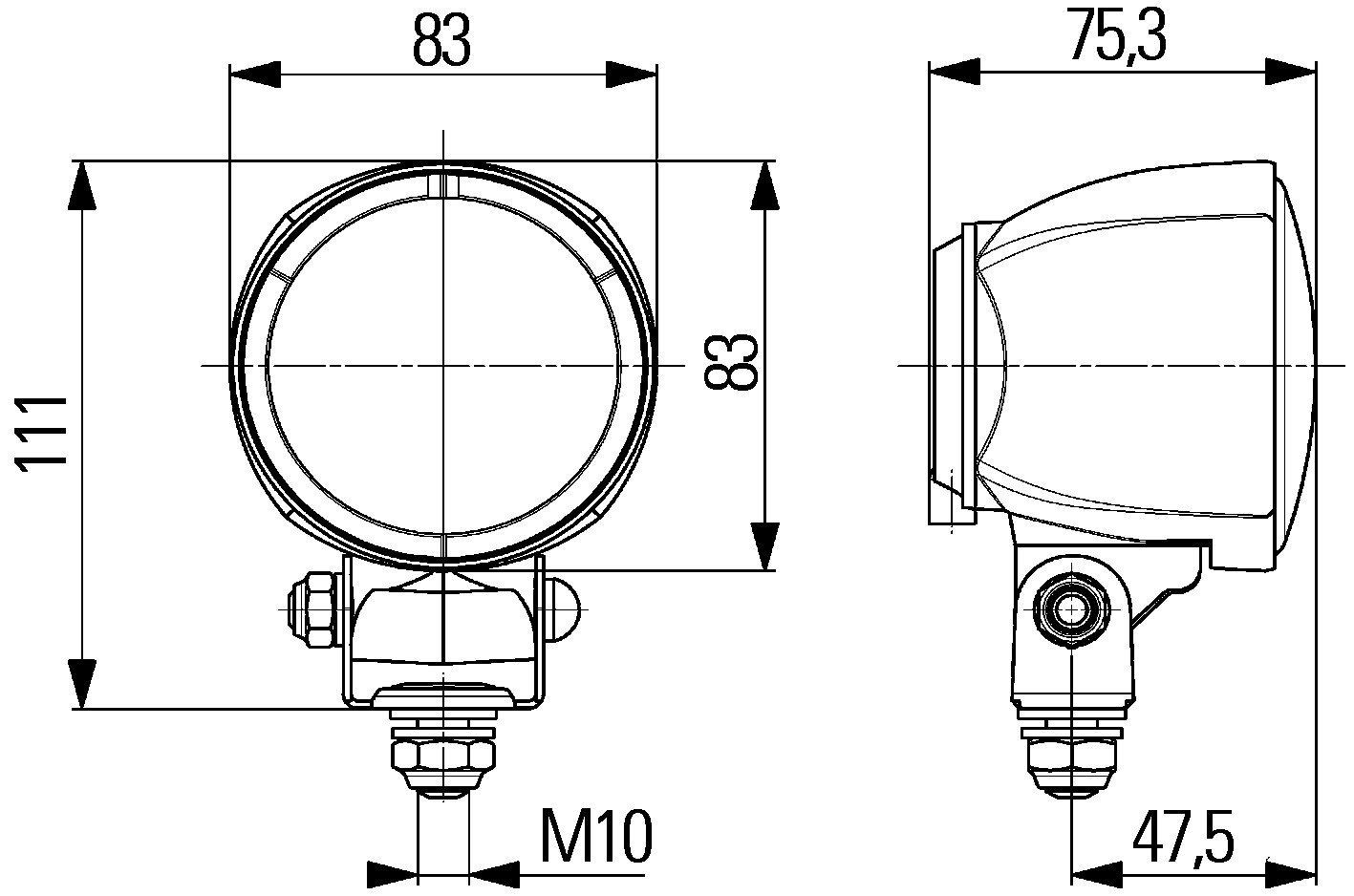 HELLA 1G0 996 176-041 Arbeitsscheinwerfer Modul 70 H9 f/ür Nahfeldausleuchtung 12V Anbau stehend rund