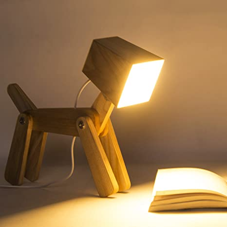 HROOME Modern Cute Dog Adjustable Wooden Dimmable Beside Desk Table Lamp Touch Sensor with Night Light for Bedroom Office Kids(Warm white 2800 3200k)