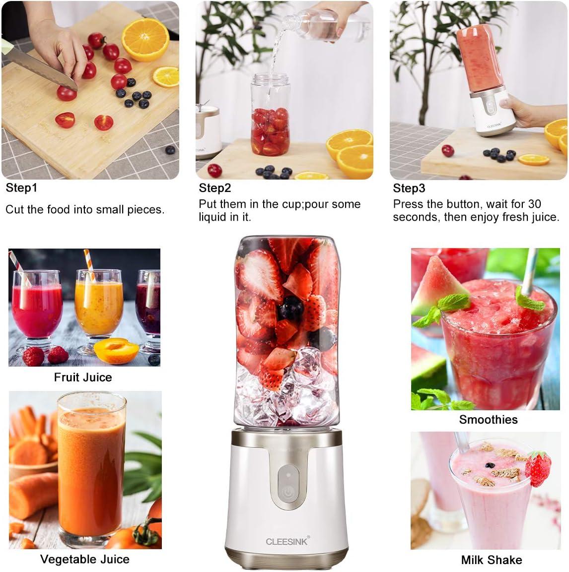 CLEESINK Aspiradora de licuadora portátil para hielo y frutas congeladas, batidora personal para batidos y batidos, recargable por USB, pequeña licuadora incluida (1 tarro): Amazon.es: Hogar