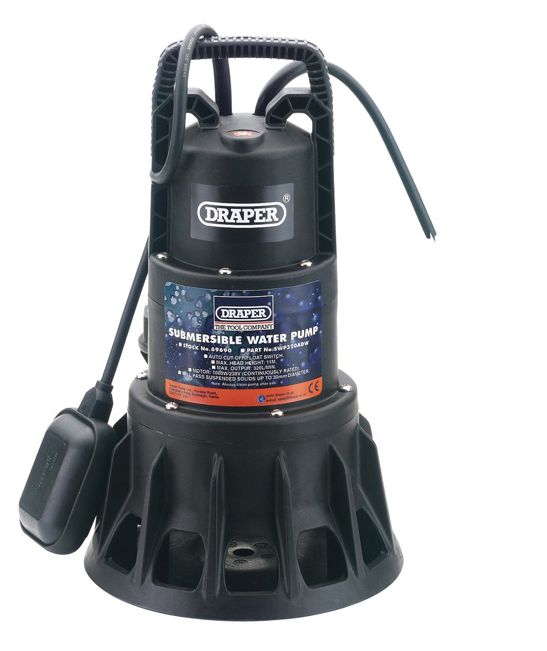 bluee Draper 69690 320-Litres-per-Minute (Maximum) 230-Volt 1,000-Watt Submersible Dirty Water Pump with Float Switch