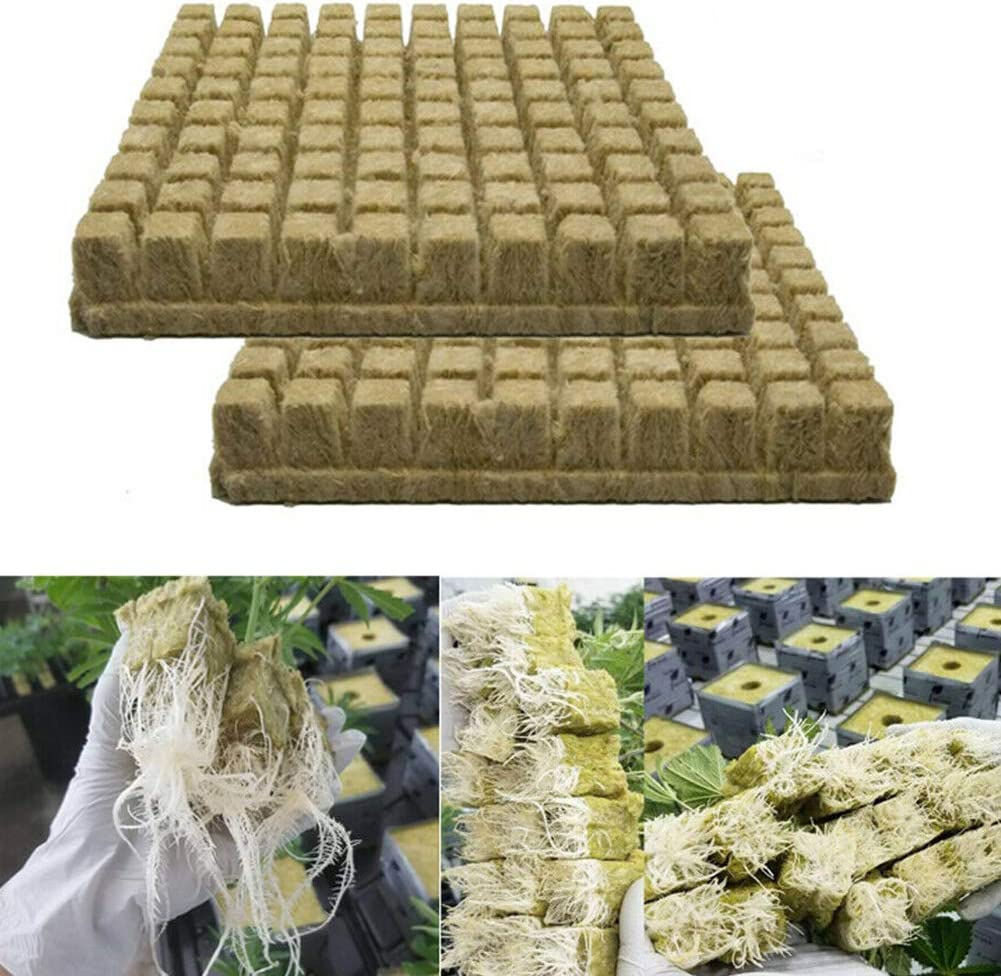 BRLIUK Rockwool Grow Cubes Starter Sheets Rockwool Starter Plugs for Cloning,Plant Propagation,Seed Starting Hydroponic Grow Media for Vigorous Plant Growth