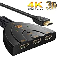 WireScorts 1.4V HDMI Switcher with 3 Ports and Pigtail Cable Supports 4K, 3D, 1080P HD Audio 3 in 1 Output for Projector Compatible with Fire Stick, Xbox One and More (Black)