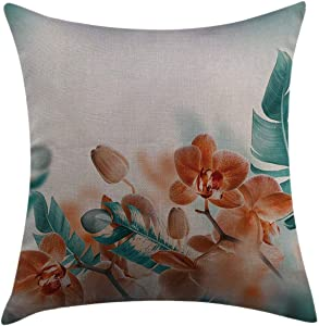 """Mugod Throw Pillow Cover Tropical Orchids Blossom Leaves on Blurred Background Floral Themed Modern Artwork Orange Teal Home Decor Square Pillow Case for Bedroom Living Room Cushion Cover 18""""x18"""""""