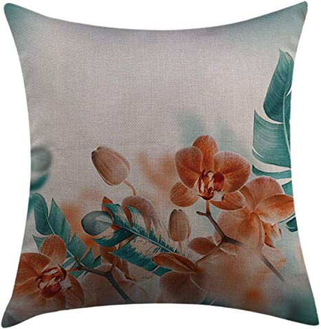 Amazon Com Mugod Throw Pillow Cover Tropical Orchids Blossom Leaves On Blurred Background Floral Themed Modern Artwork Orange Teal Home Decor Square Pillow Case For Bedroom Living Room Cushion Cover 18 X18 Home