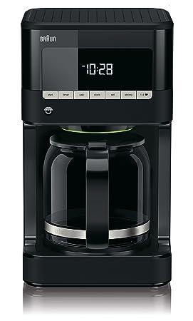 Braun KF 7020 Cafetera eléctrica semi-automática con jarra de cristal, 1000 W, 12 tazas, acero inoxidable, negro