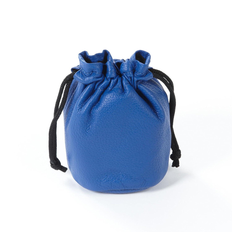 Small Cobalt Full Grain Leather Drawstring Bag