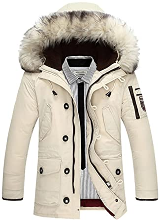 ae53e52f8c01 K3K Winter Mens Duck Down Thick Warm Coat Hooded Fur Collar Jackets Parka  (US X