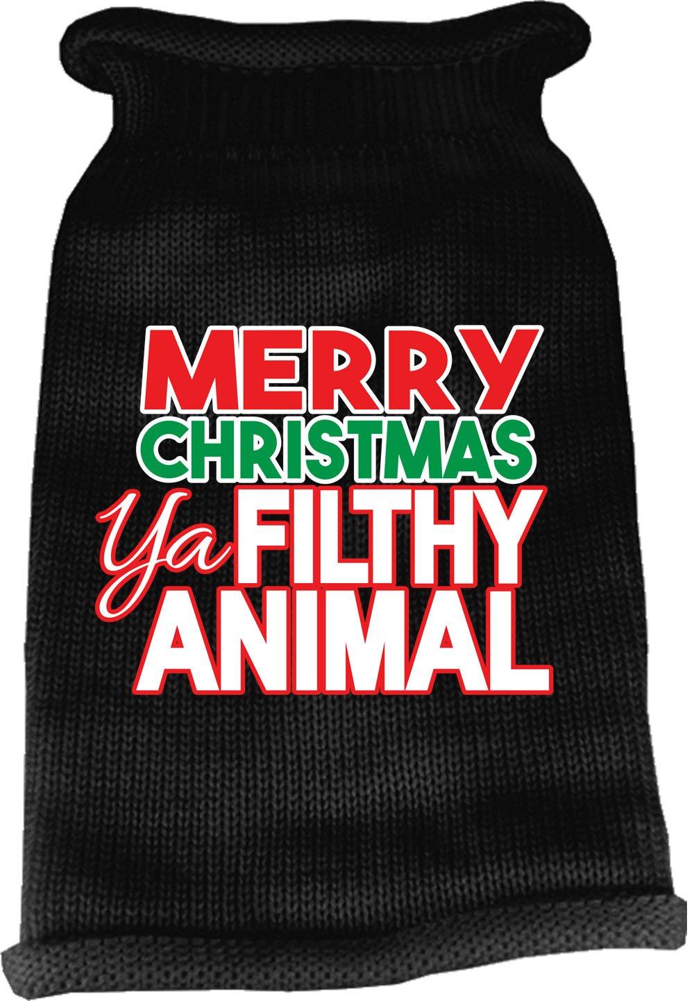 Mirage Pet Products 621-16 SMBK Ya Filthy Animal Screen Print Knit Black Pet Sweater, Small
