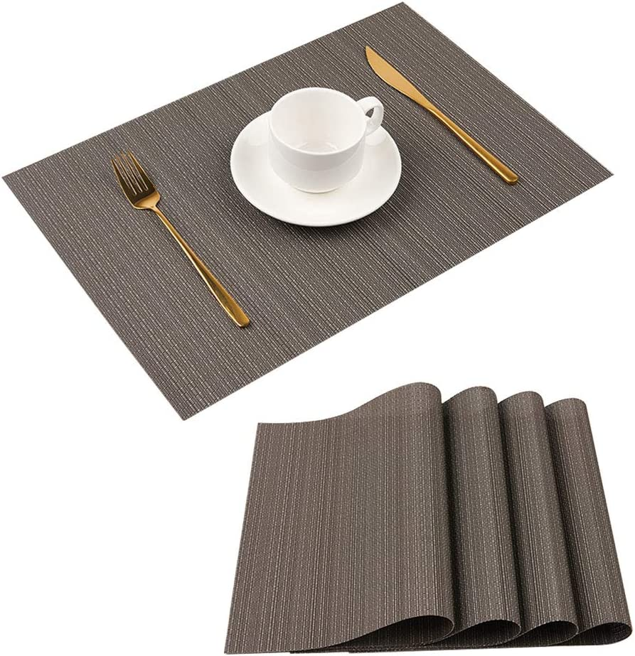 Florica Placemats for Dining Table, Set of 4 Woven Vinyl Heat-Resistant Washable Place Mats Easy to Clean Wipeable Table Mats for Dining Kitchen (Dark Gray)