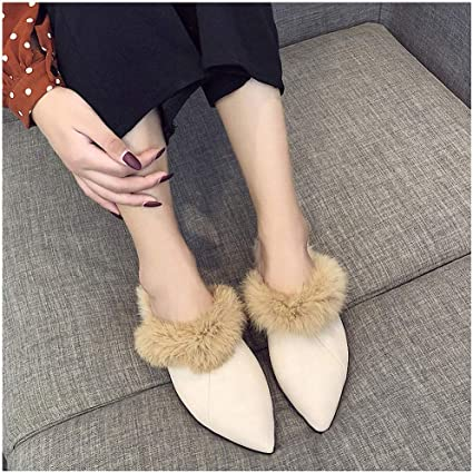 ASO-SLING Womens Faux Fur Slippers Casual Wedges Shoes Slip On Winter Warm Solid Fashion Slides Creepers