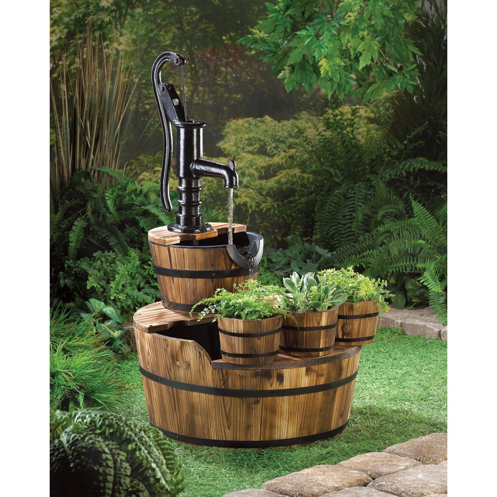 amazon com home locomotion 10015115 old fashioned water pump amazon com home locomotion 10015115 old fashioned water pump barrel fountain floor standing fountains patio lawn garden