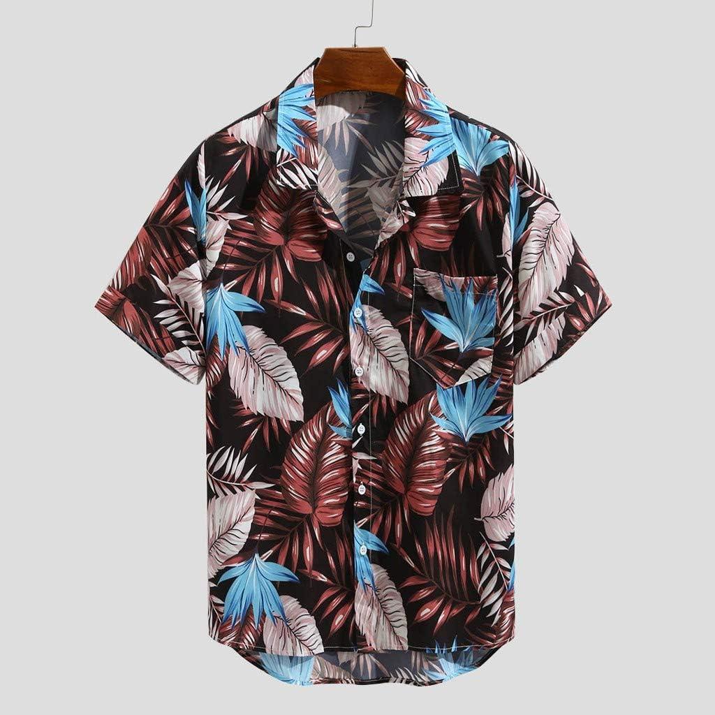 Mens Casual Loose Fit Plaid Printed Short Sleeves Button Down Beach Hawaiian Breathable Shirts Tee