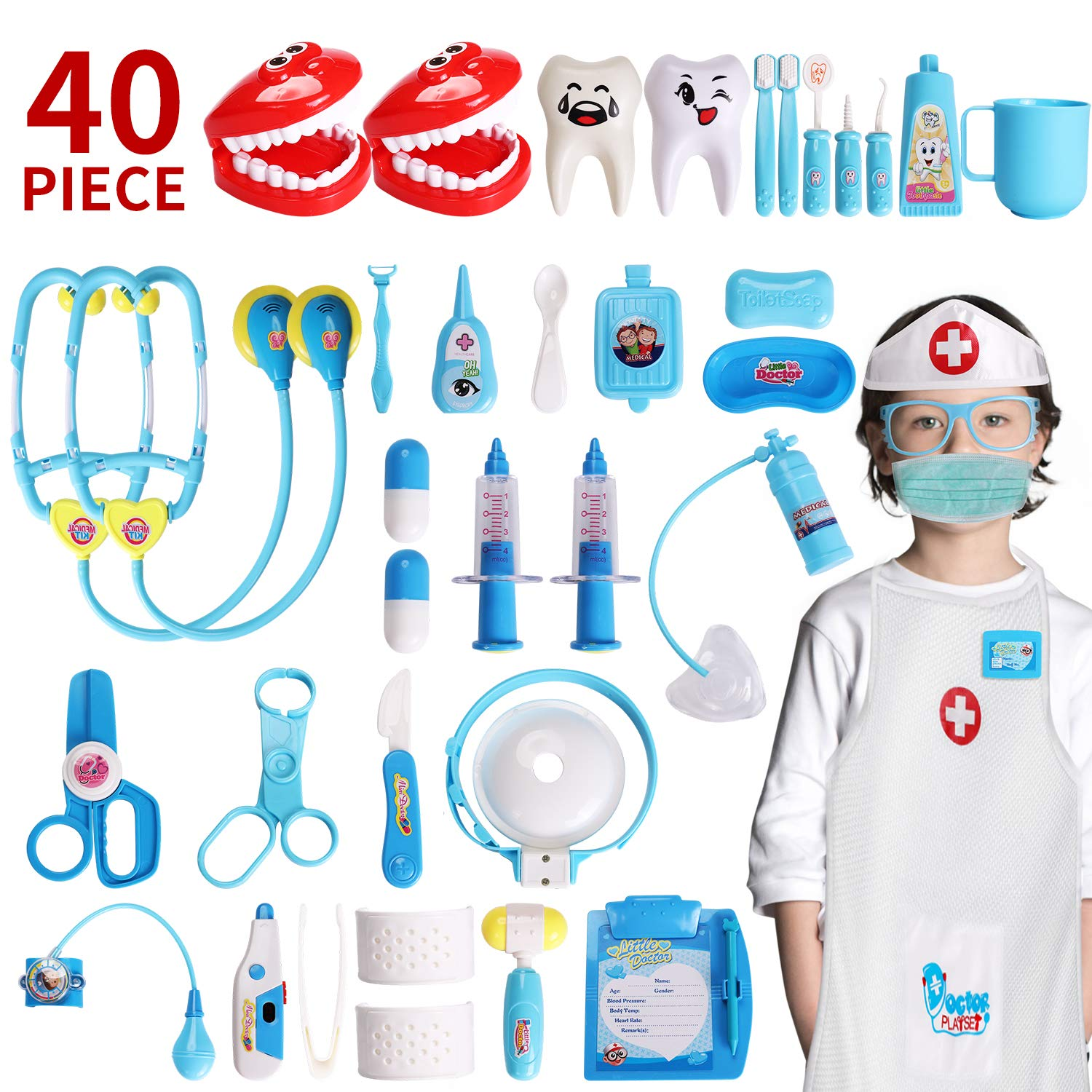 XINSHI Doctor Pretend Role Play Medical Dentist Kits Toys with Stethoscope , Thermometer, Blood Pressure Cuff and Dress-up Coat for Your Kid/Boy/Girl/Princess/Granddaughter/Grandson (40 Pcs ) by XINSHI