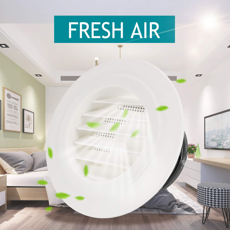 Rejilla de ventilaci/ón redonda HG Power rejilla de ventilaci/ón de aire ABS con malla de rejilla para extractor de conductos de ventilador