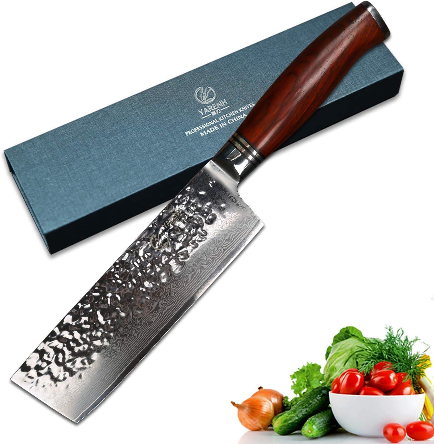 Compra YARENH Cuchillos de Cocina Verdura 17cm - Cuchillo de Cocina Profesional de Acero de Japones Damasco - Mango de Madera Dalbergia - Cuchillos de Cocinero Ultra Filoso HTT-Serie en Amazon.es