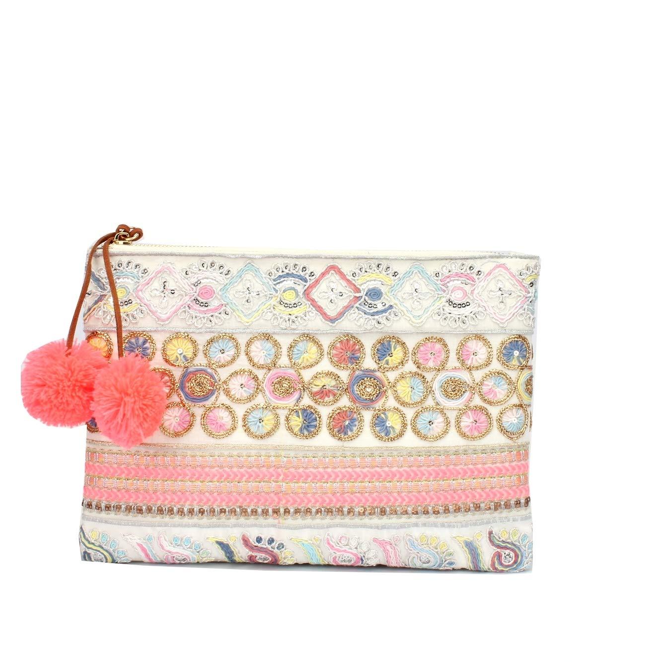 Angkorly Bolsa de mano Envelope Clutches de mano Mini crossbody Tote bag azteca Perla Pompom rom/ántico Folk//Etnico Bohemia para bodas y fiestas mujer elegante de de moda idea de regalo