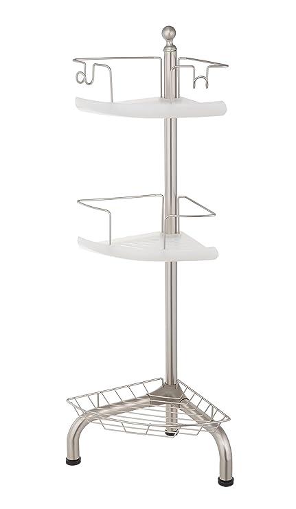 Amazon.com: Home Zone 3 Tier Adjustable Corner Shower Caddy, Satin ...