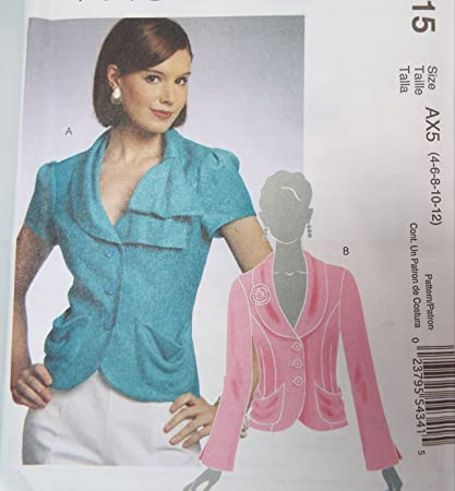 Misses Lined Jackets Shawl Collar McCalls M5815 Sewing Pattern Size 4-6-8-