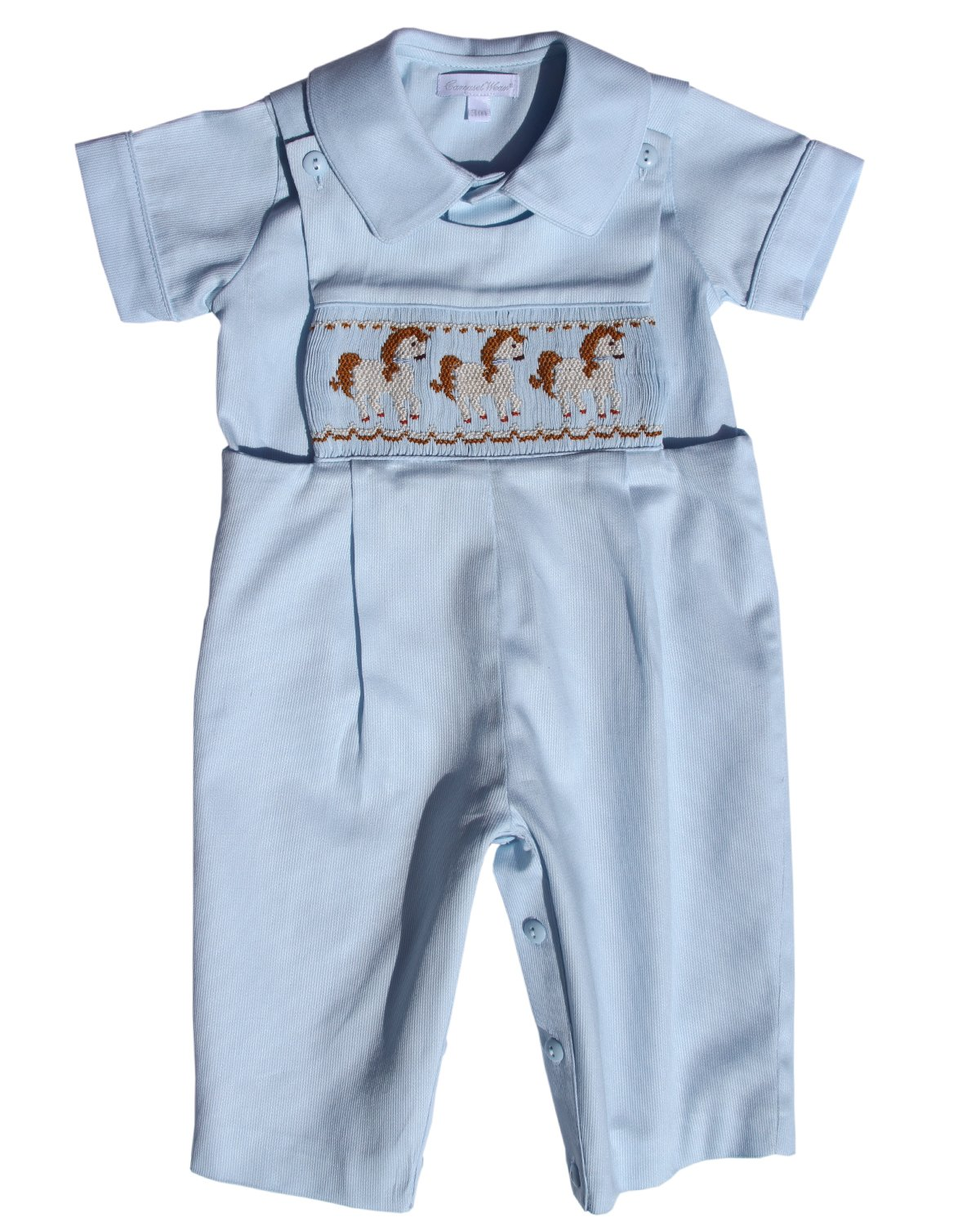 Carouselwear Boy Blue Longall Overalls with Smocked Carousel Horses