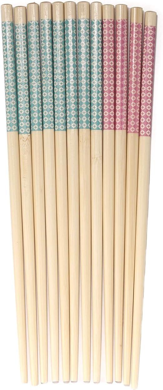 Palillos de bambú 5 pares Largos Varios Colores Reutilizable chino//japonés