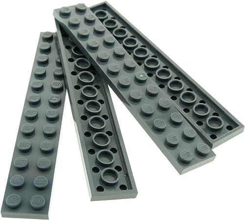 Lego 4 x Platte 2445 neu dunkelgrau   2x12