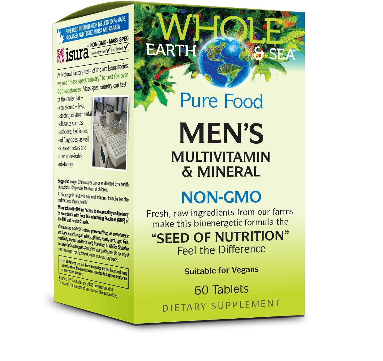 Whole Earth & Sea - Men's Multivitamin & Mineral, Raw, Whole Food Nutrition, 60 Tablets
