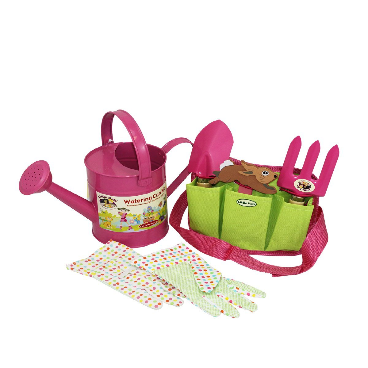 Little Pals Children's Watering Can Kit and Tool Pouch Set, Pink LP230