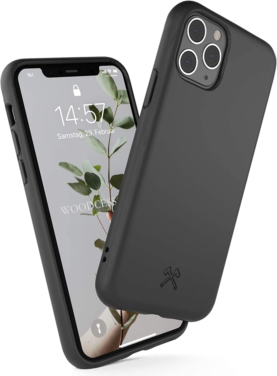 Woodcessories - Phone Case Compatible with iPhone 11 Pro Case Black - Ecofriendly, Made of Plants