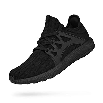 ZOCAVIA Men's Non Slip Work Shoes Ultra Lightweight Breathable Mesh Tennis Running Walking Athletic Sneakers New Black 11 M US