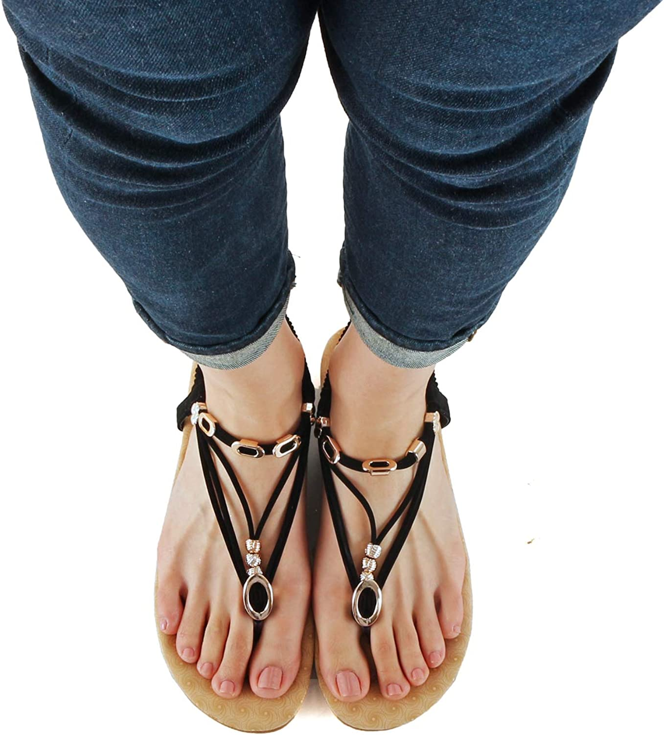 Guilty Heart Womens Strappy Soft Comfortable Thick Padded Flat Thong Sandals