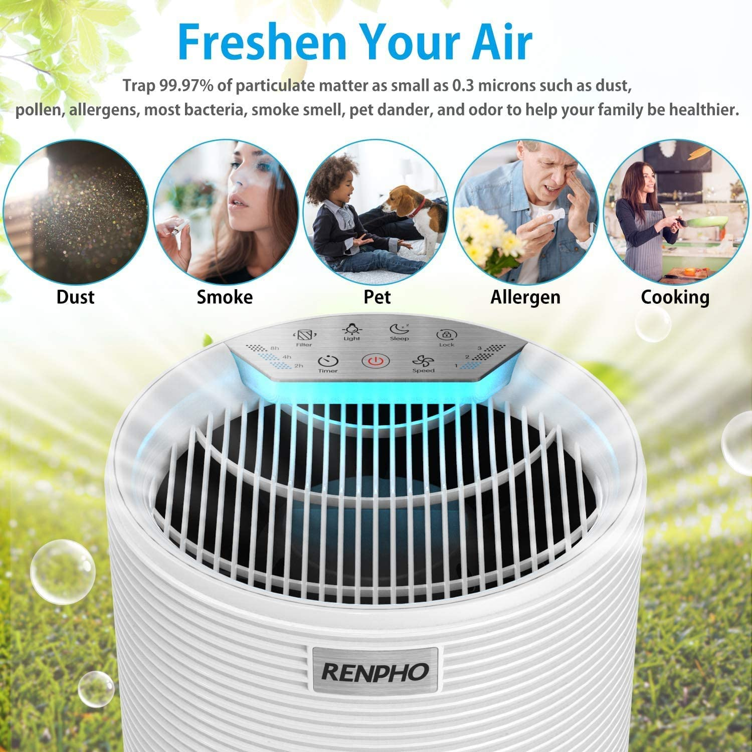 RENPHO Air Purifier for Allergies and Pets Hair with HEPA Filter WAS £89.99 NOW £62.99 w/code 68EGGFH5 @ Amazon